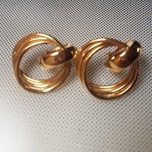 Golden twist rings clip earrings